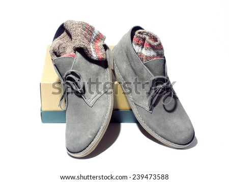 desert style casual outdoor men's boots gray with colorful rag socks - stock photo