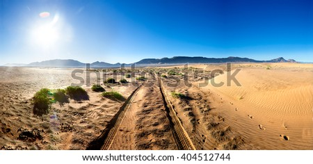 Desert sunset scenery landscape.Adventure and travel concept.Scenic desert landscape.travel lifestyle - stock photo
