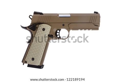 Desert tactical pistol on white background military model - stock photo