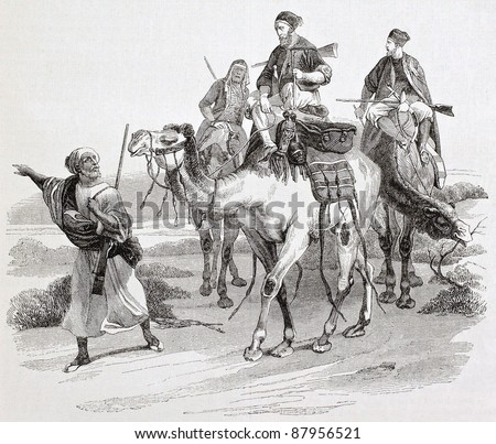 Desert trip by camels old illustration. Created by Vernet, published on Magasin Pittoresque, Paris, 1844 - stock photo