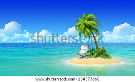 Desert tropical island with palm tree and chaise lounge. Concept for rest, holidays, resort, travel. - stock photo