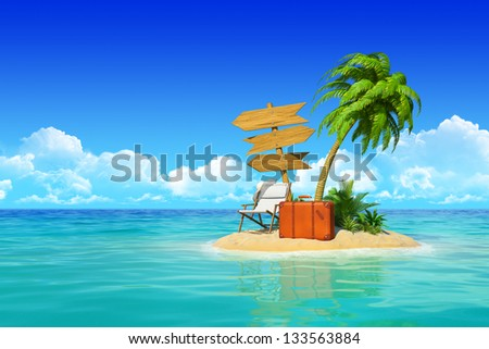 Desert tropical island with palm tree, chaise lounge, suitcase and three empty wooden signpost. Concept for rest, holidays, resort, travel. - stock photo