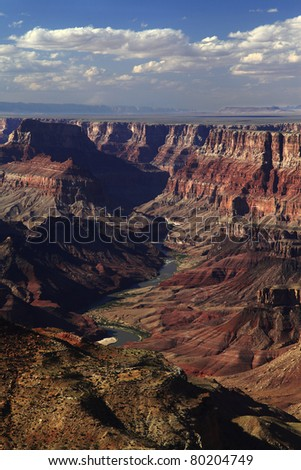 Desert View in the Grand Canyon in late afternoon light - stock photo