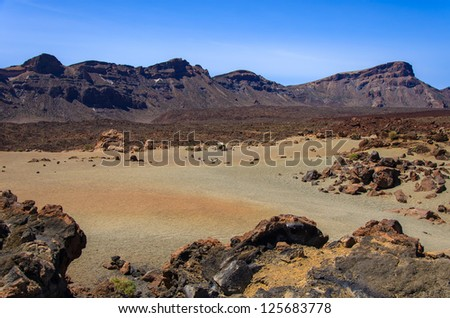 Desert volcanic landscape, Teide National Park, Tenerife, Canary Islands