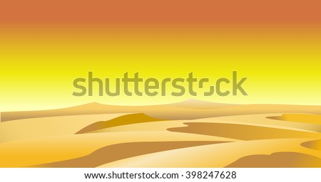 desert with dunes cactus and mountains  - stock photo