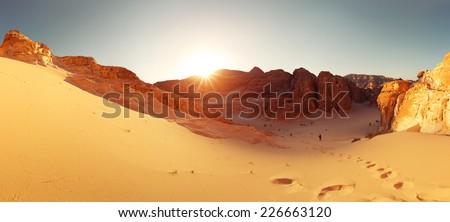 Desert with mountains. Sinai, Egypt - stock photo