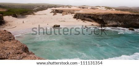 Deserted bay in Arikok National Park - stock photo