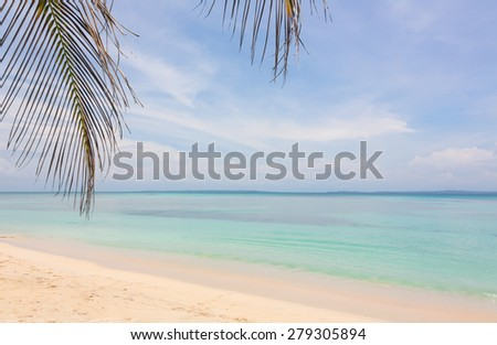 Deserted beach on the archipelago Bocas del Toro, Panama - stock photo