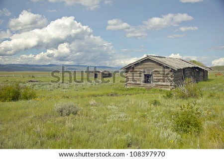 Deserted cabin in Centennial Valley, near Lakeview, Montana - stock photo