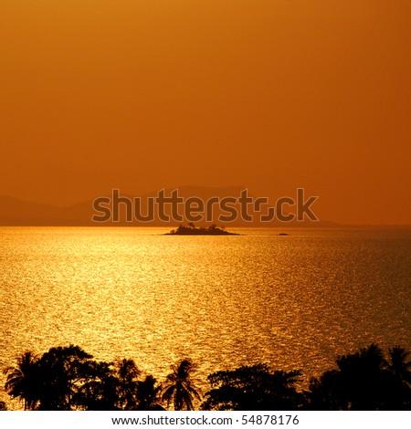 Deserted Island along the Cambodian coast near Kep, against a dramatic sunset - stock photo