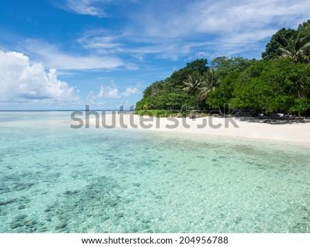 Deserted island paradise, Pulau Sipadan island, Sabah, Malaysia. - stock photo