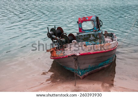 Deserted old boat/ ship  - stock photo