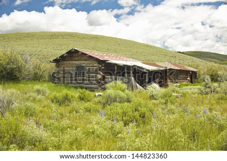 Deserted old log cabins in Centennial Valley near Lakeview, MT - stock photo