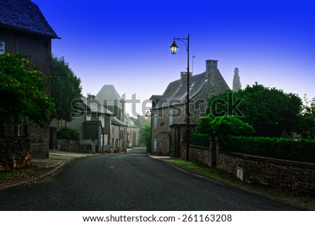 Deserted Street of the French City at Misty Morning  - stock photo