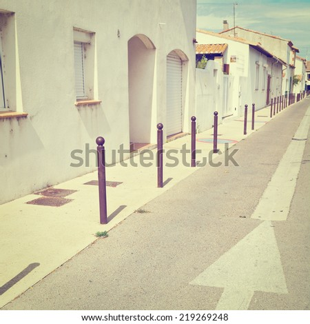 Deserted Street of the French City, Instagram Effect  - stock photo