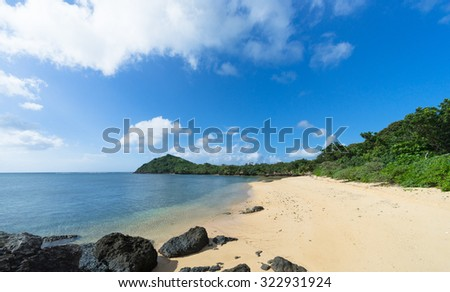 Deserted tropical beach with calm water, Okinawa, Japan - stock photo
