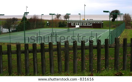 Deserted winter tennis courts