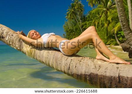 Deserved Relaxation Woman In Bikini  - stock photo