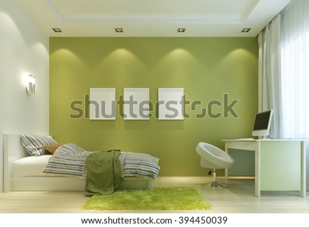 Design Childs Room Contemporary Style Bed Stock Illustration ...