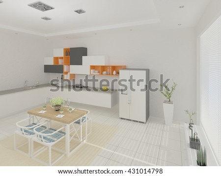Design a spacious kitchen with stylish furniture, 3d rendering. - stock photo