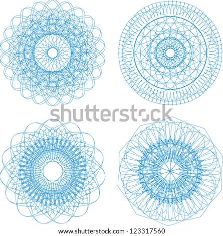 design abstract guilloche elements for diploma or certificate, raster - stock photo
