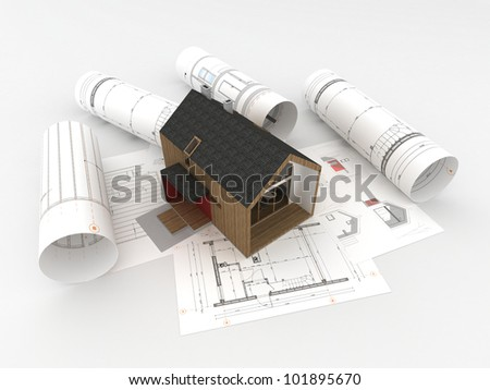 design and construction of wooden house - architects technical drawings and design - stock photo
