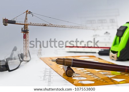 design and develop a construction plan - stock photo