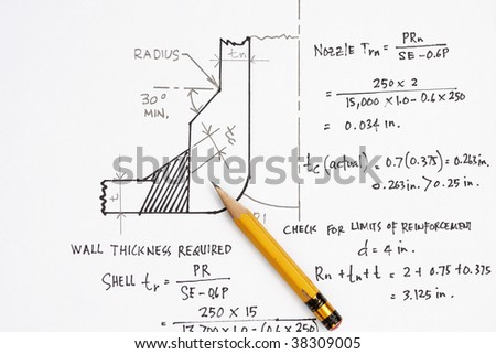 Design calculation of ASME nozzle - many uses in the oil and gas industry. - stock photo