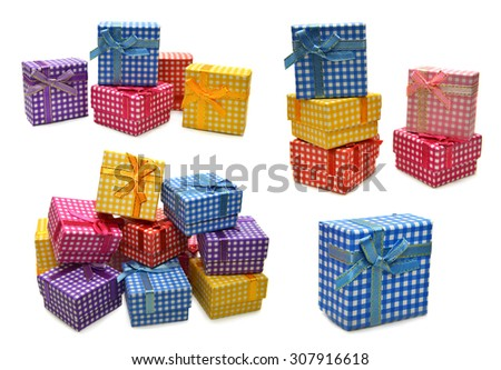 Design collection with colorful gift boxes isolated on white - stock photo