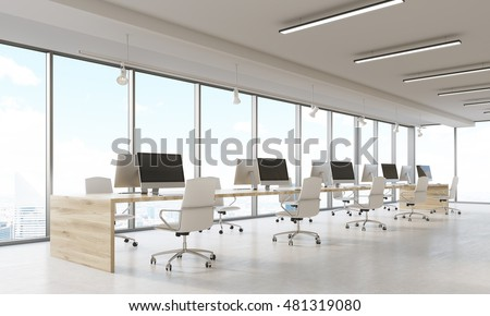Design company interior with rows of computers and panoramic windows. Concept of comfortable working conditions importance for productive business. 3d rendering