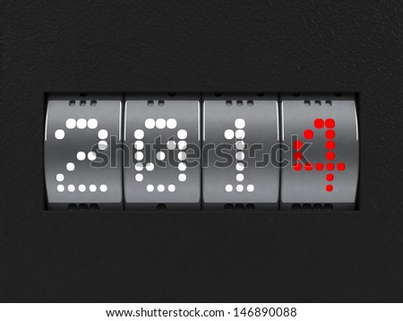 Design component of a counter dial that is showing the year 2014, three-dimensional rendering