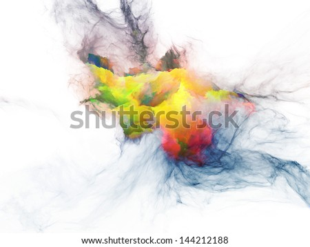 Design composed of bursting strands of fractal smoke and paint as a metaphor on the subject of design, science, technology and creativity - stock photo