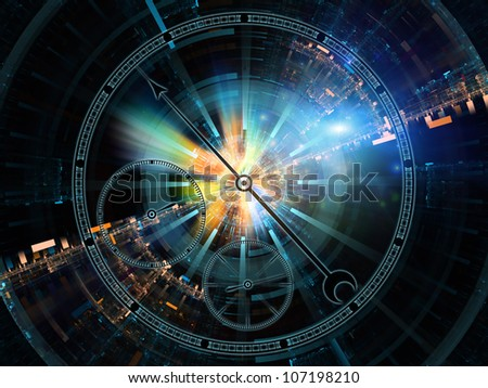 Design composed of chronometer dial and abstract design elements as a metaphor on the subject of technology, science, passage of time, past, present and future - stock photo