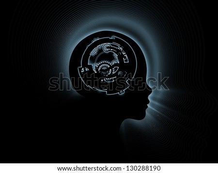 Design composed of clock gears, numbers and human head outline as a metaphor on the subject of consciousness, artificial intelligence and technology - stock photo