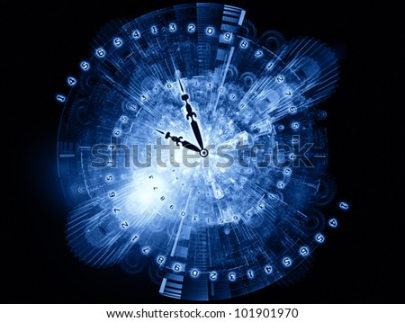 Design composed of clock hands, gears, lights and numbers as metaphor on the subject of time sensitive issues, deadlines, scheduling, temporal processes, digital technologies, past, present and future - stock photo