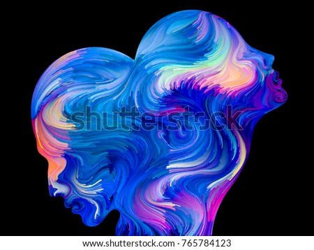 Design composed of colorful and surreal human profiles as a metaphor on the subject of love, passion, romantic attraction and unity