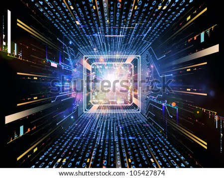 Design composed of CPU graphic and abstract design elements as a metaphor on the subject of digital equipment, computing and modern technologies