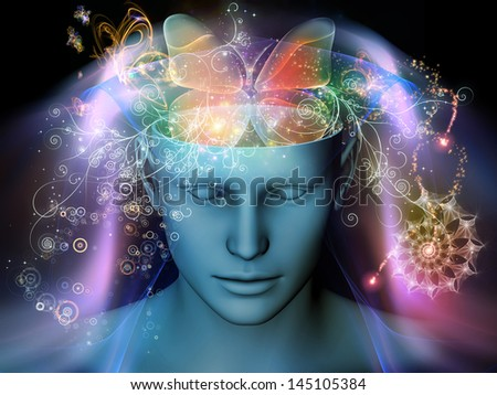 Design composed of cutout of male head and symbolic elements as a metaphor on the subject of human mind, consciousness, imagination, science and creativity - stock photo