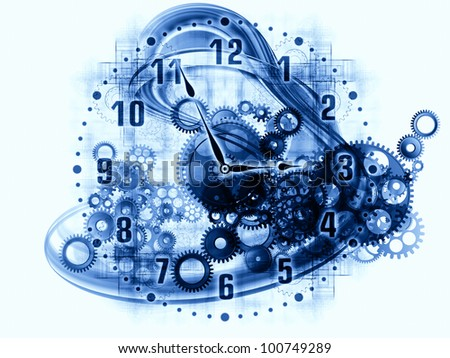 Design composed of gears, clock elements, dials and dynamic swirly lines as a metaphor on the subject of scheduling, temporal and time related processes, deadlines, progress, past, present and future