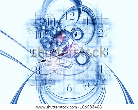 Design composed of gears, clock elements, dials and dynamic swirly lines as a metaphor on the subject of scheduling, temporal and time related processes, deadlines, progress, past, present and future - stock photo