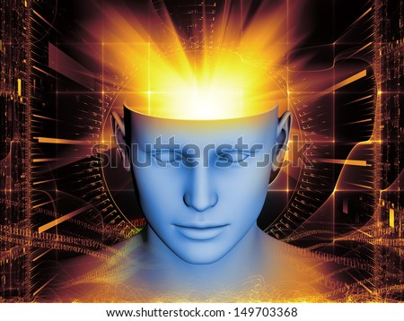 Design composed of human head and symbolic elements as a metaphor on the subject of human mind, consciousness, imagination, science and creativity - stock photo