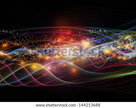 Design composed of lights, fractal and custom design elements as a metaphor on the subject of signals, networking, communication technologies and motion