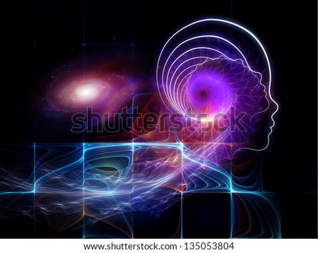 Design composed of outline of human head and symbolic elements as a metaphor on the subject of knowledge, science, technology and education - stock photo