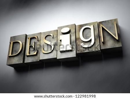 Design concept, 3d vintage letterpress text - stock photo