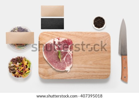 Design concept of mockup bbq steak set on white background. Copy space for text. - stock photo