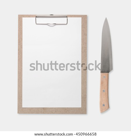 Design concept of mockup clip board and knife set isolated on white background. Copy space for text and logo. Clipping Path included on white background. - stock photo