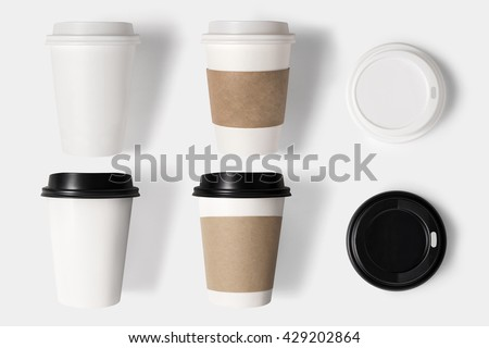 Design concept of mockup coffee cup set and lid set on white background. Copy space for text and logo. Clipping Path included on white background. - stock photo