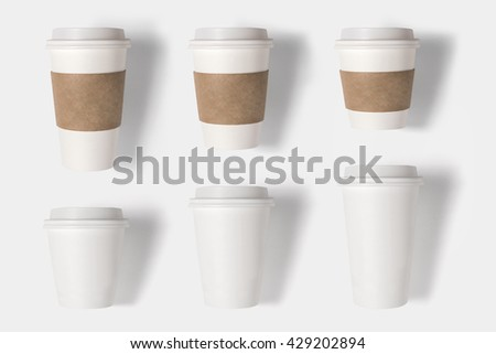 Design concept of mockup coffee cup set on white background. Copy space for text and logo. Clipping Path included on white background.