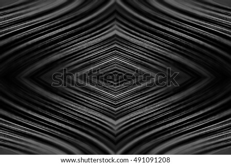 Design concept. Ready solutions interior design office. Black paper ribbon arranged like a fractal. Macro lens closeup shot 1:1