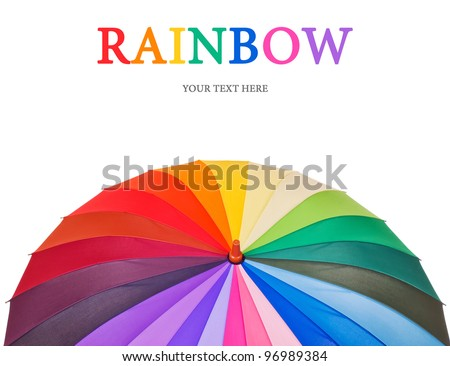 Design concept with big multicolored umbrella (isolated on white with place for your text) - stock photo